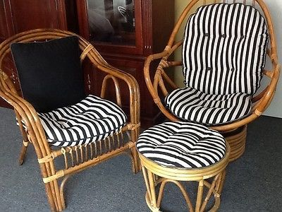 Vintage Rattan Bamboo Furniture 3 Pieces Set Of Swivel Chairs With A Stool EBay Bamboo