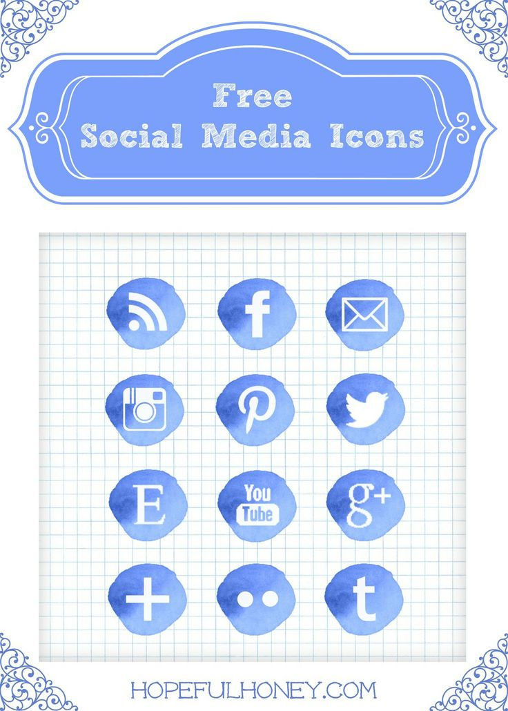 12 Free Blue Watercolour Social Media Icons Icons