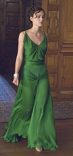 Keira Knightley as Cecilia Tallis – 2007 – Costume design by Jacqueline Durran – Atonement – Emerald green silk evening gown with