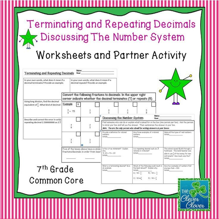 Terminating and Repeating Decimals Worksheets and Partner