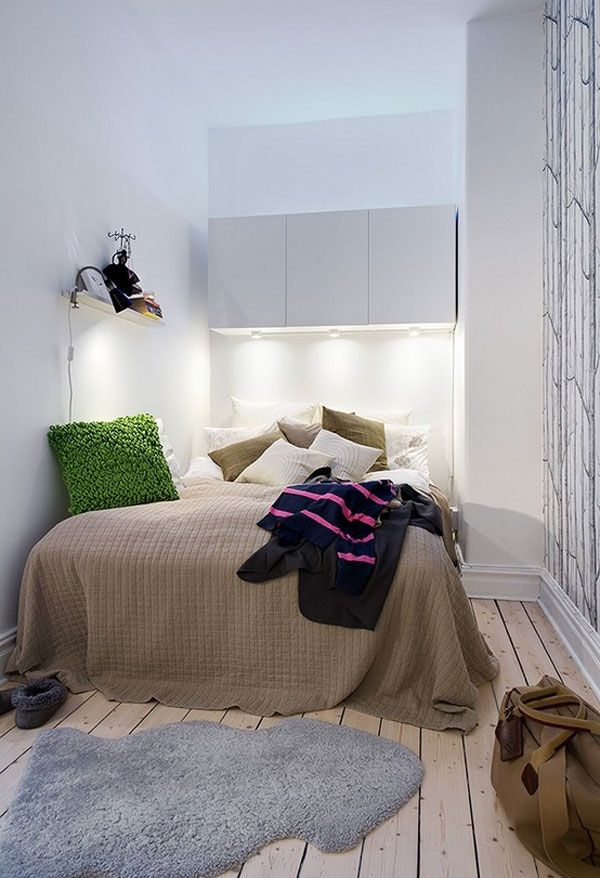 Apartments Small Bedroom Design Ideas With Light Brown Bed Cover And Green Flufy Pillow Also