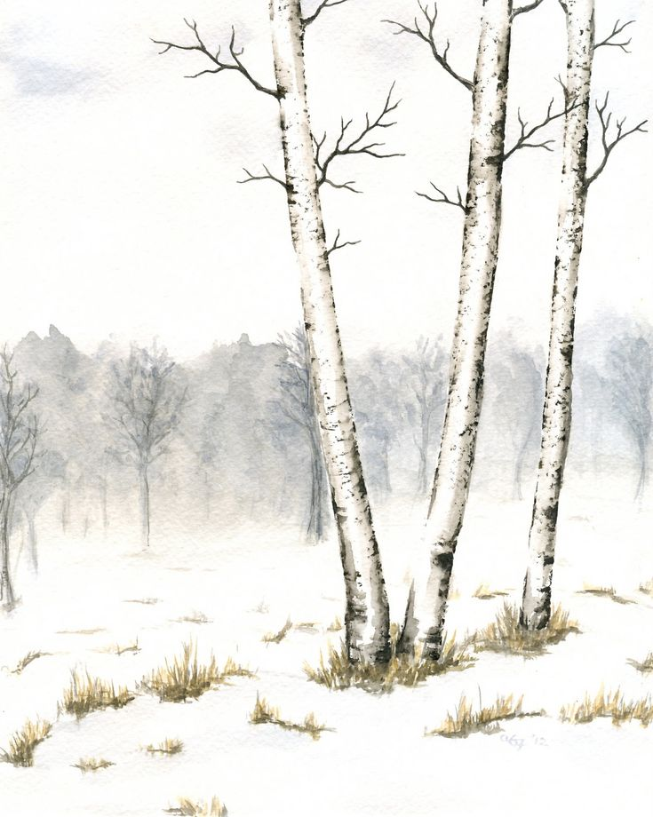 Watercolor Landscape Painting Original Winter Painting Of