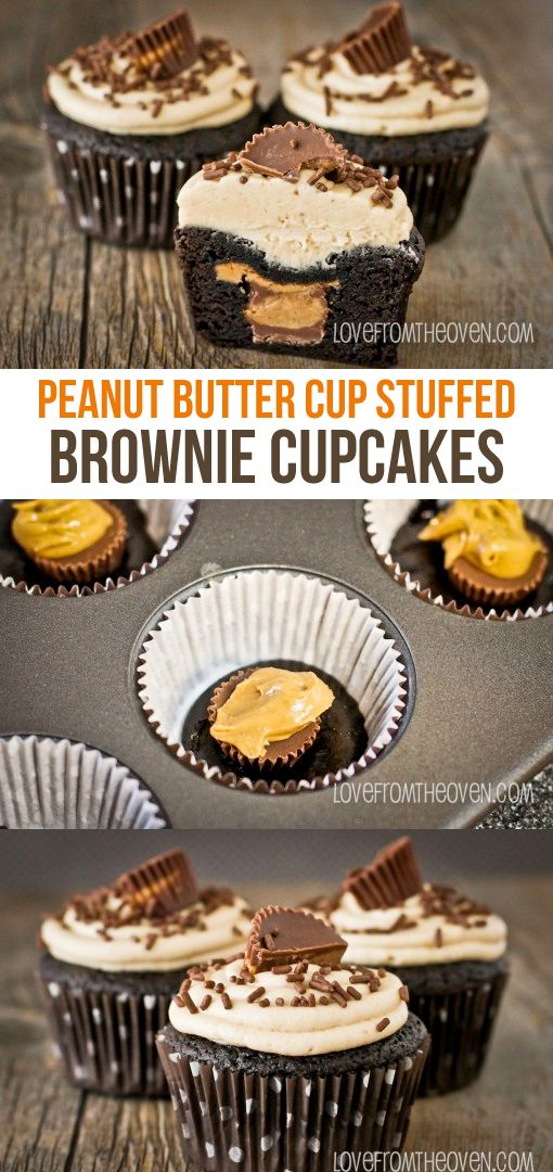 Peanut Butter Cup Stuffed Brownie Cupcakes. What a delicious way to use up Reeses Peanut Butter Cups!