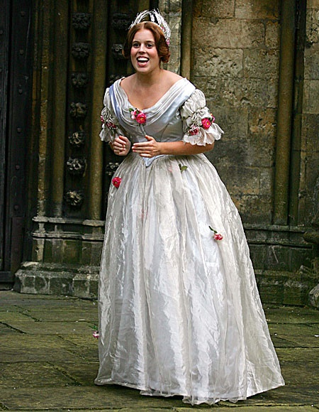 Princess Beatrice dressed as a Maid of Honor who carried