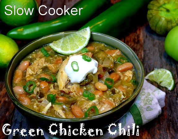 Slow Cooker Green Chicken Chile from NoblePig.com: