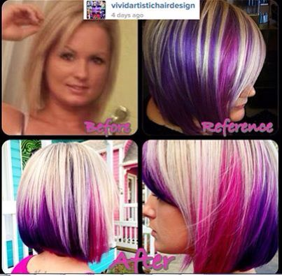 Blonde Pink And Purple Hair Hair Not So Natural Color