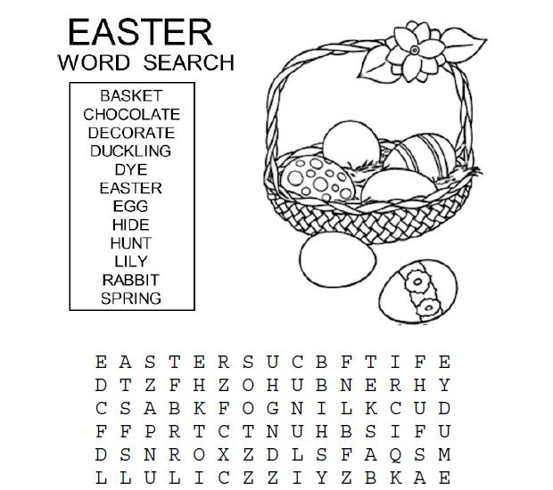 Easter Word Search For Kids Word Search Easter And