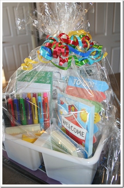 Teacher gift basket idea – although the link does not take you to a gift basket,