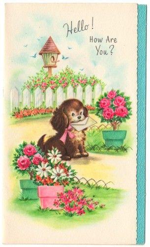 Vintage Greeting Card Get Well Puppy Dog Vintage