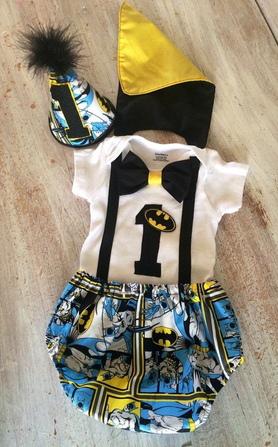 Batman Superhero Comic Cake Smash Outfit With Cape By