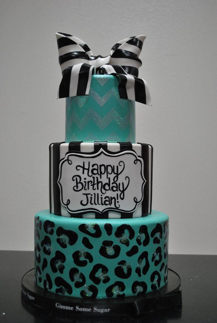 Teal & Black Animal Print Cake