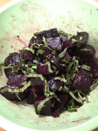 Beet Salad with Fresh Basil: