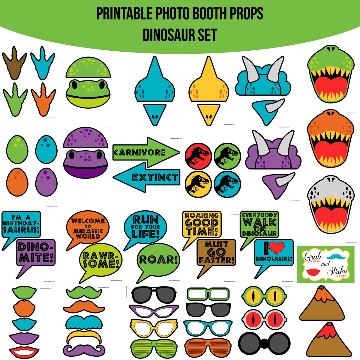 Instant Download Dinosaur Printable Photo Booth Prop Set