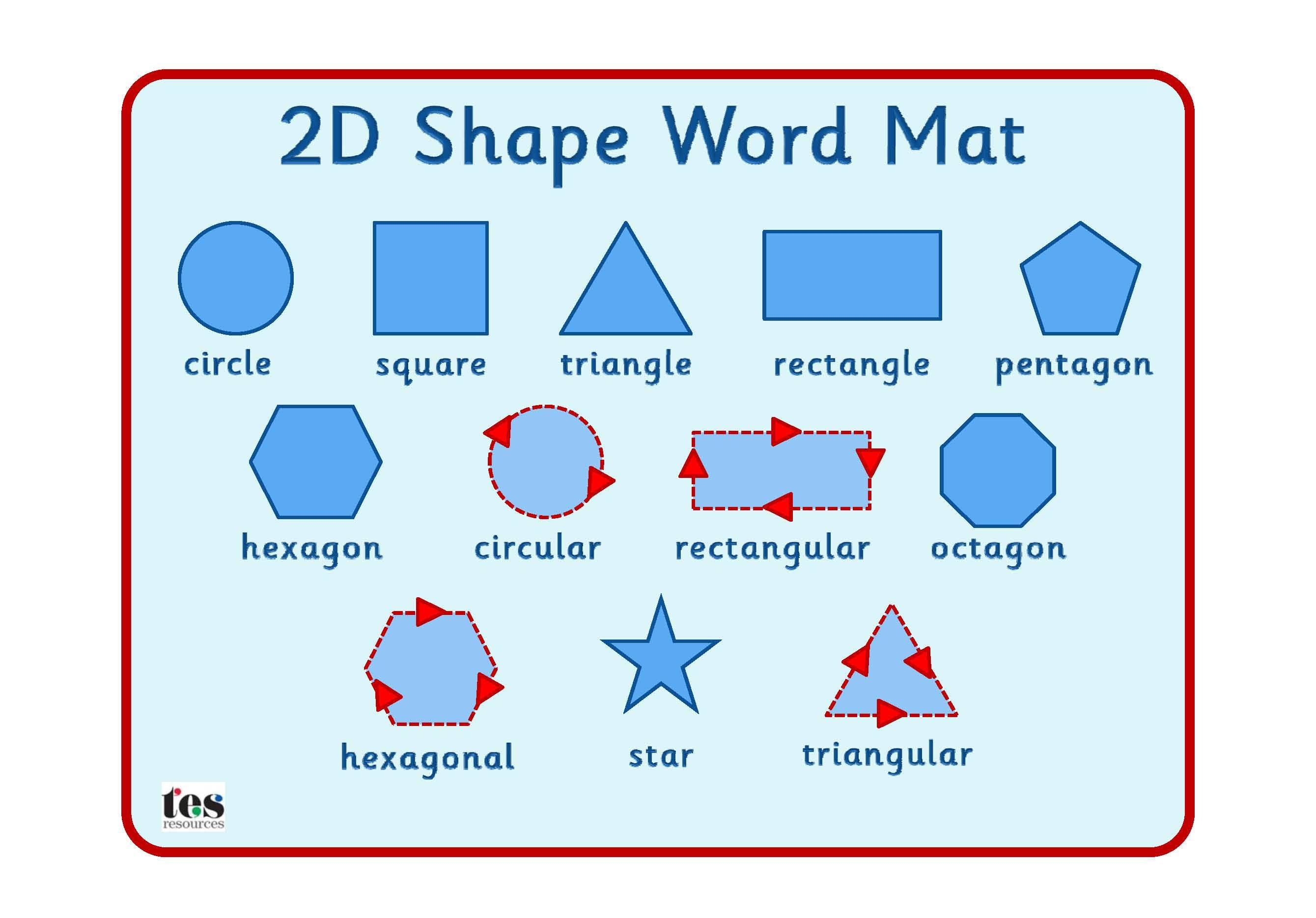 Simple 2d Shape Mat Clearly Laid Out Mat With Supportive Vocabulary Also Available In A Double