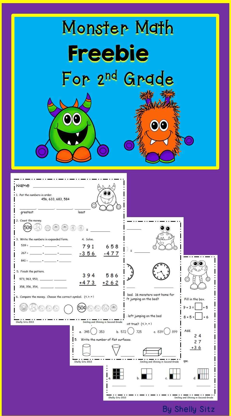 (Printed) Monster Math Freebie for Second Gradereviews