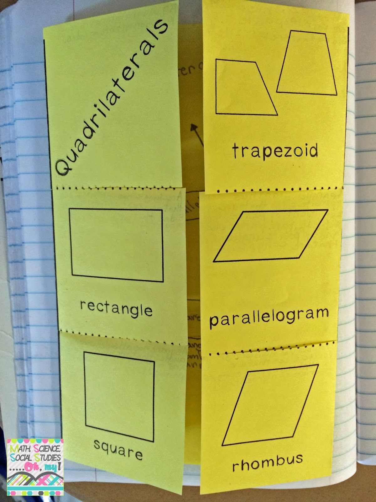 Math Science Social Stu S Oh My Foldable Friday Quadrilaterals