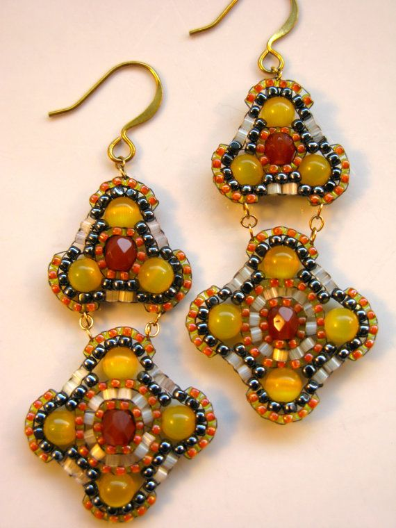 Orange Chandelier Earrings Yellow And Hemae Colored Drop