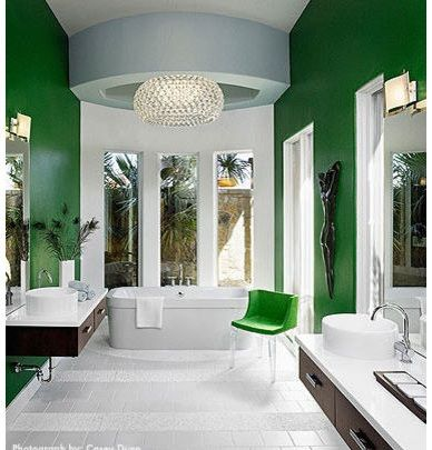 green & white bathroom paint colors ideas - image by laura britt