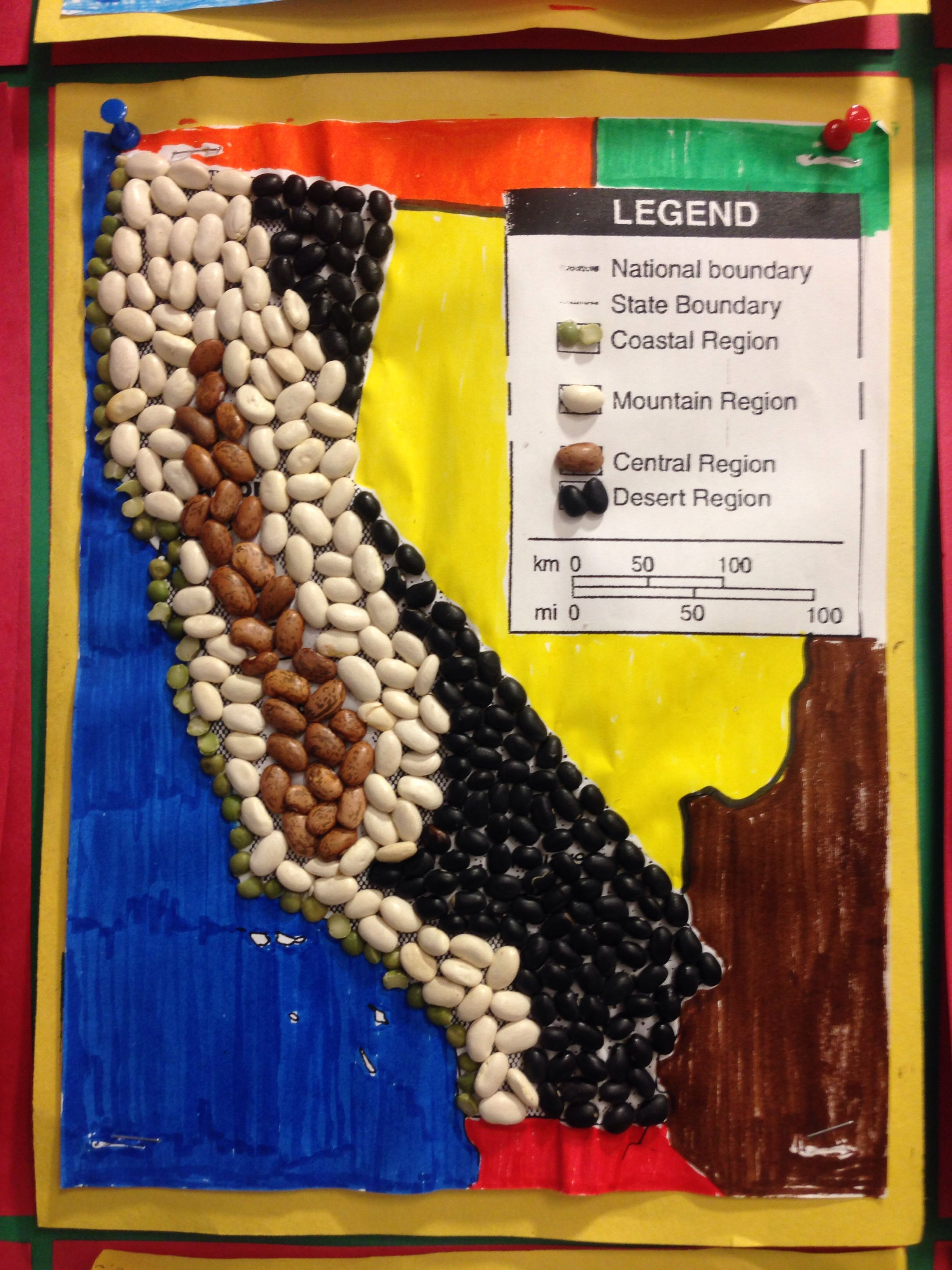 Ca Region Relief Map Bean Project Different Color Beans
