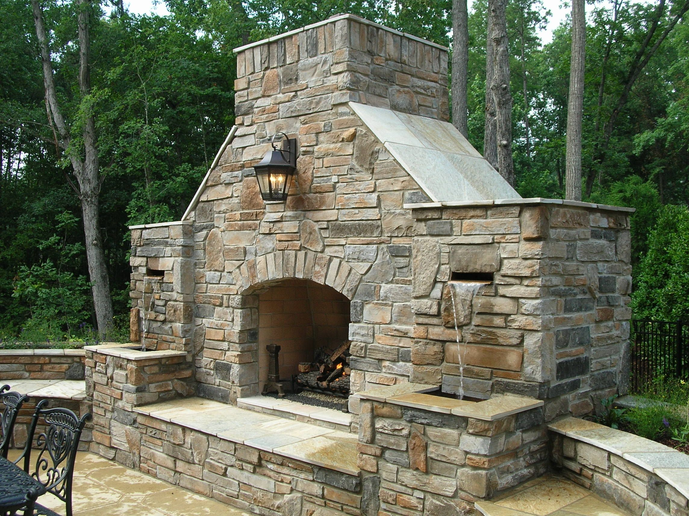 Combination Outdoor Fireplace And Water Fountain
