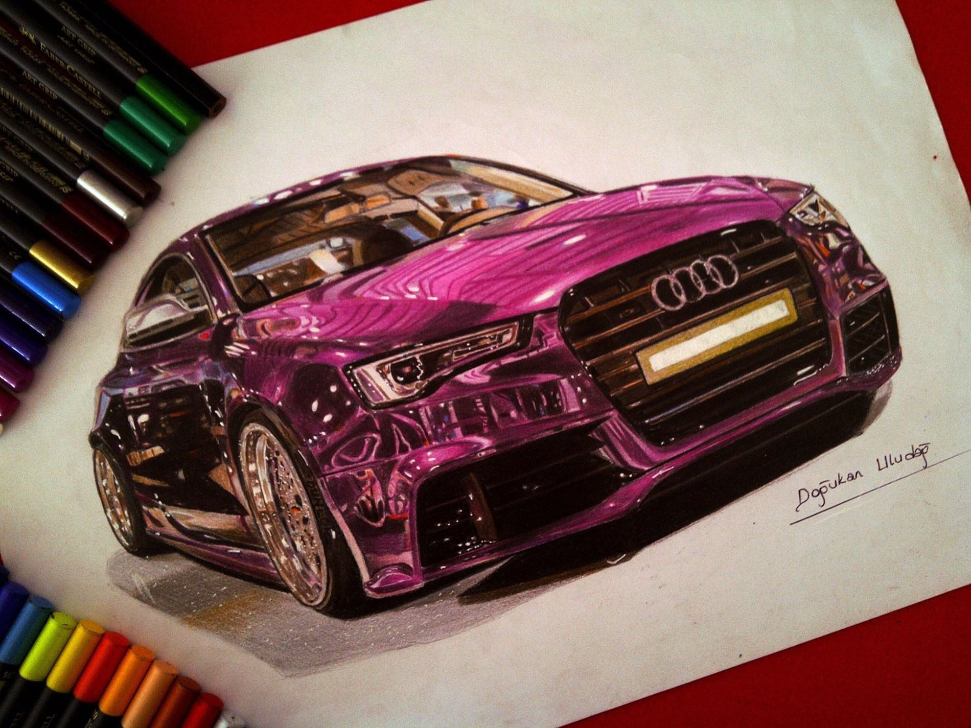 Drawings of Ultra Shiny Automobiles Illusions, Markers