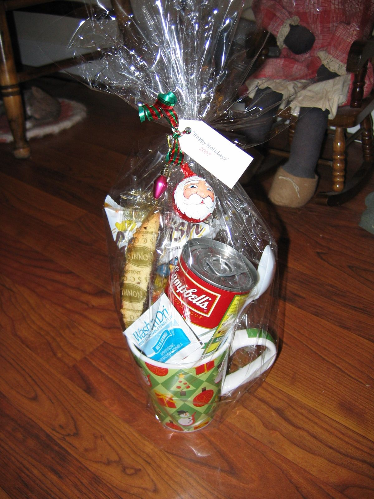 """""""Lunch in a Cup"""" Gift Basket (can of soup, goldfish"""