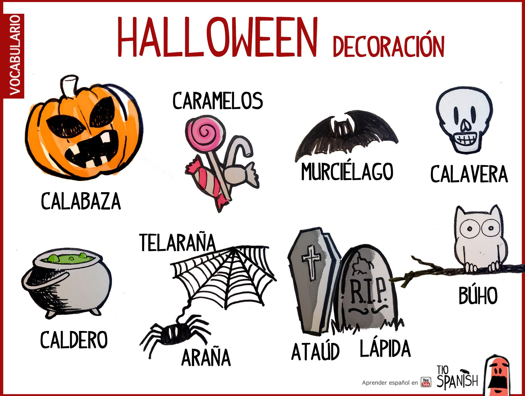 Vocabulario halloween español, decoración halloween