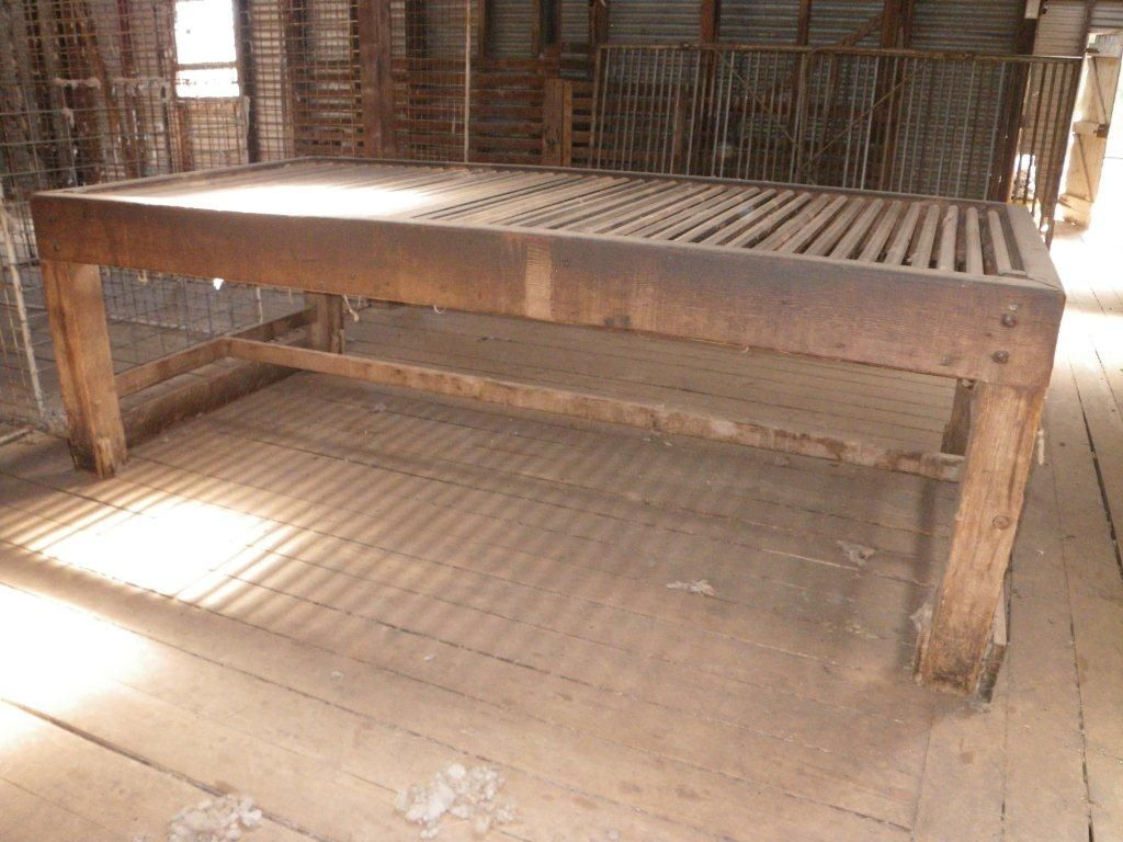 Wool classing table 9 ft long, 4 1/2 ft wide, 3 feet