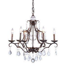 Artcraft Lighting Vintage 6 Light Distressed Bronze Crystal Accent Chandelier