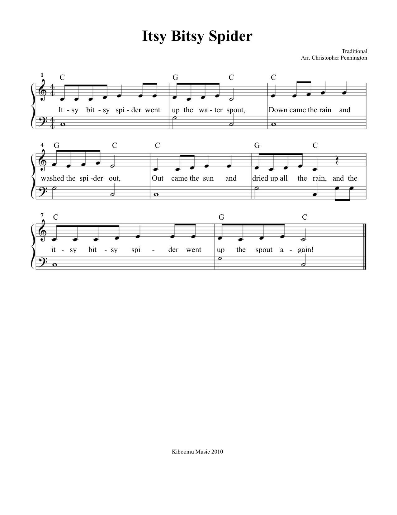 Free Sheet Music Itsy Bitsy Spider Sheet Music And Song