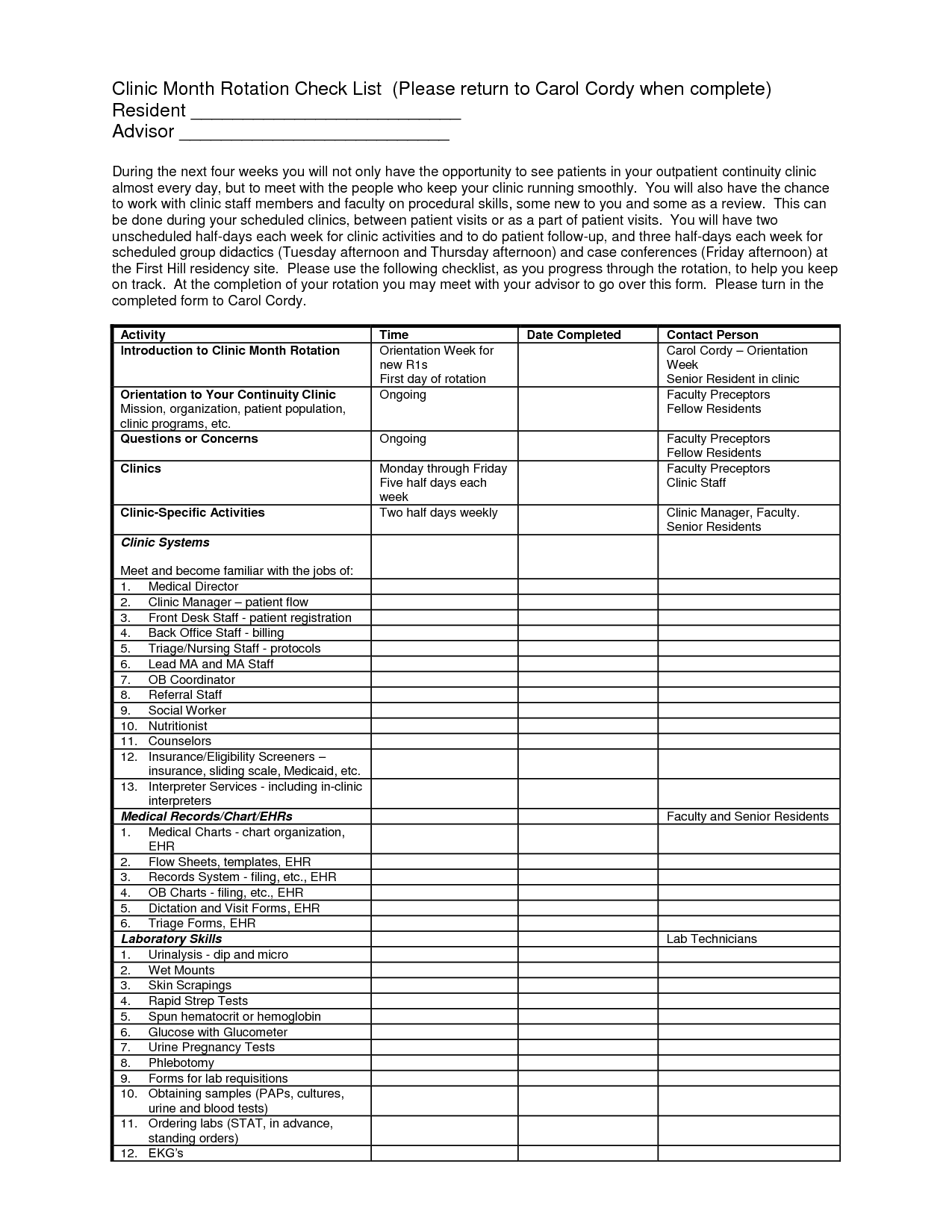 Nursing Flow Sheet
