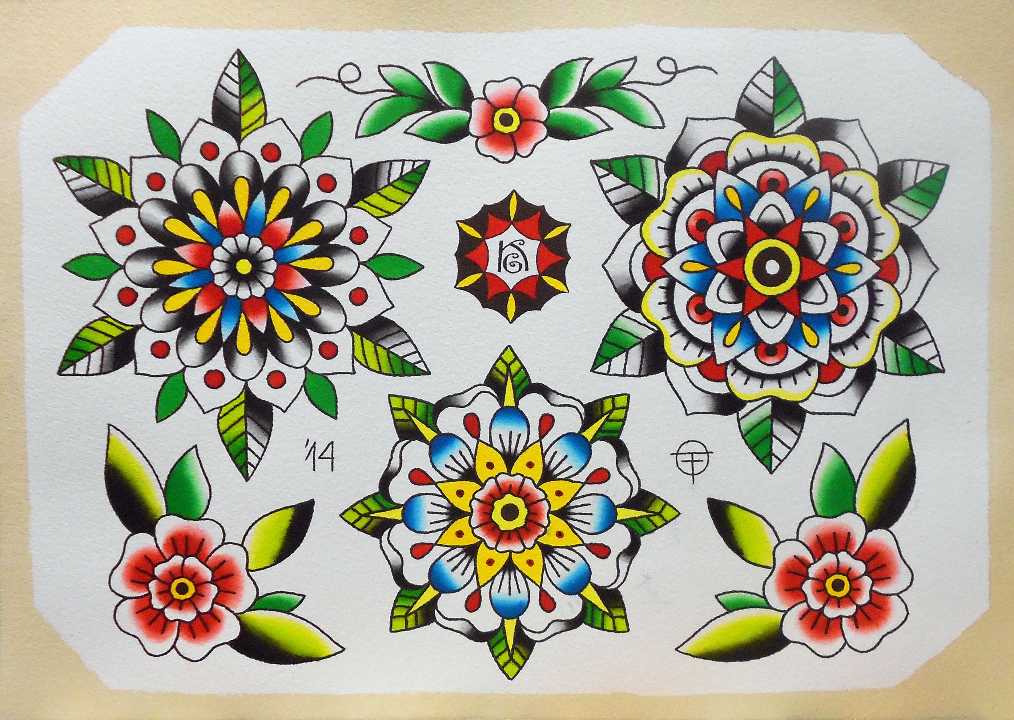 flower mandala oldtimetattoo tattoo tattoos watercolor