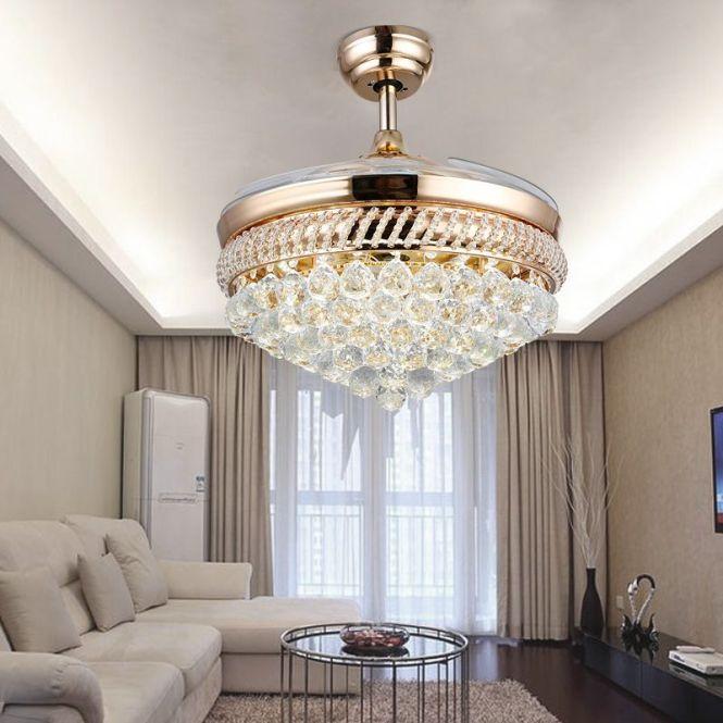 Suppliers Modern Quiet Ikea Ceiling Fans Crystal Chandelier Light Remote Control Folding Bladeless Fan Lamp