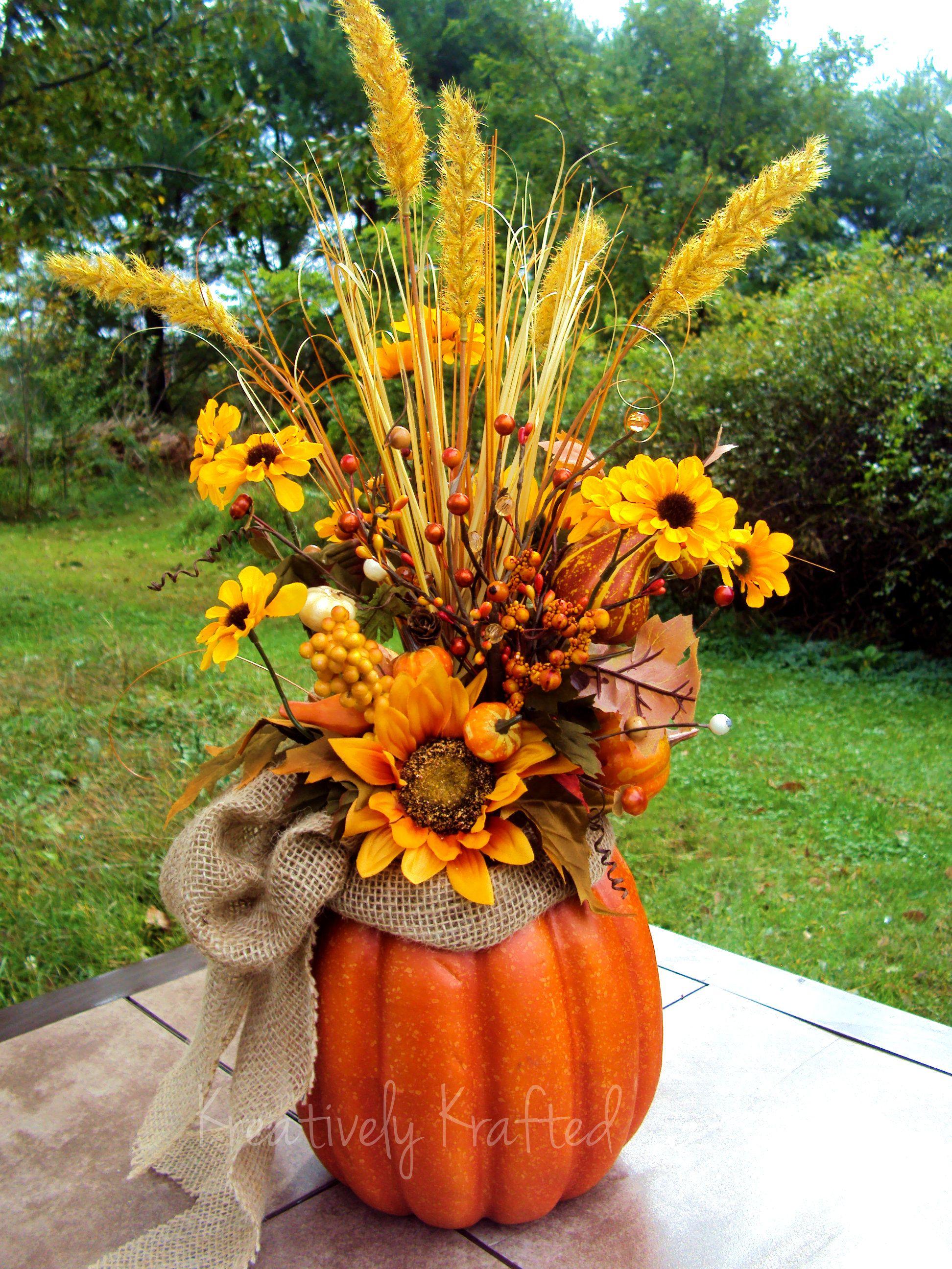 Autumn Fall Thanksgiving pumpkin centerpiece, table flower