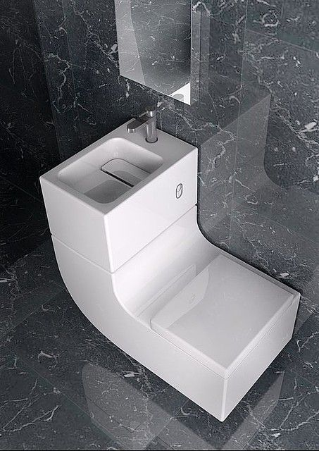 Water saving design combines sink and toilet   Toilet  Sinks and Water Roca s innovative  ultra modern toilet and sink combination  called W W   for washbasin   watercloset  This unique  space saving bathroom fixture is  not only