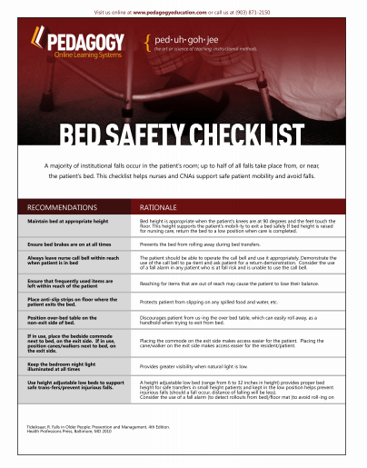 Bed Safety Checklist A majority of institutional falls