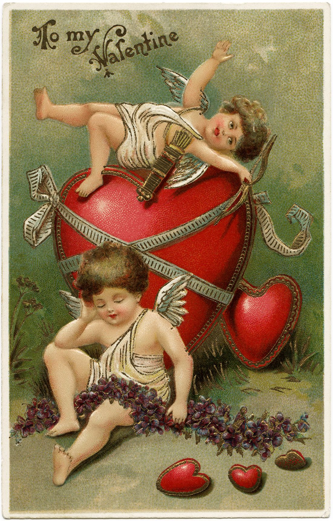 Vintage Valentine Postcard Cherubs And Hearts Clip Art