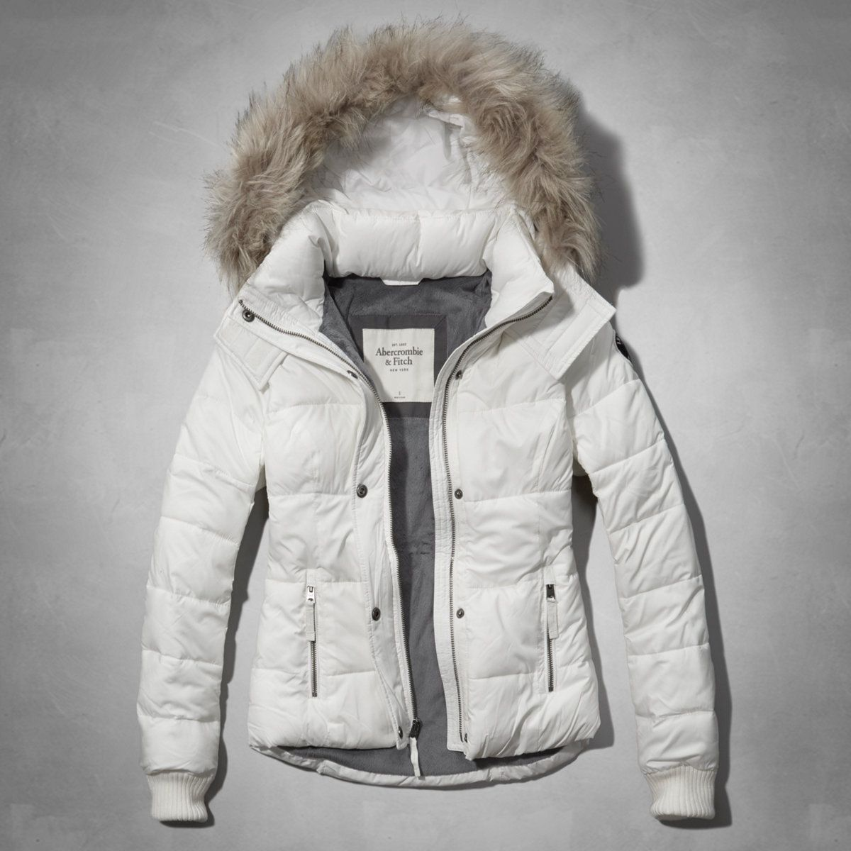 Womens A&F White Classic Puffer Jacket with Fur Trimmed