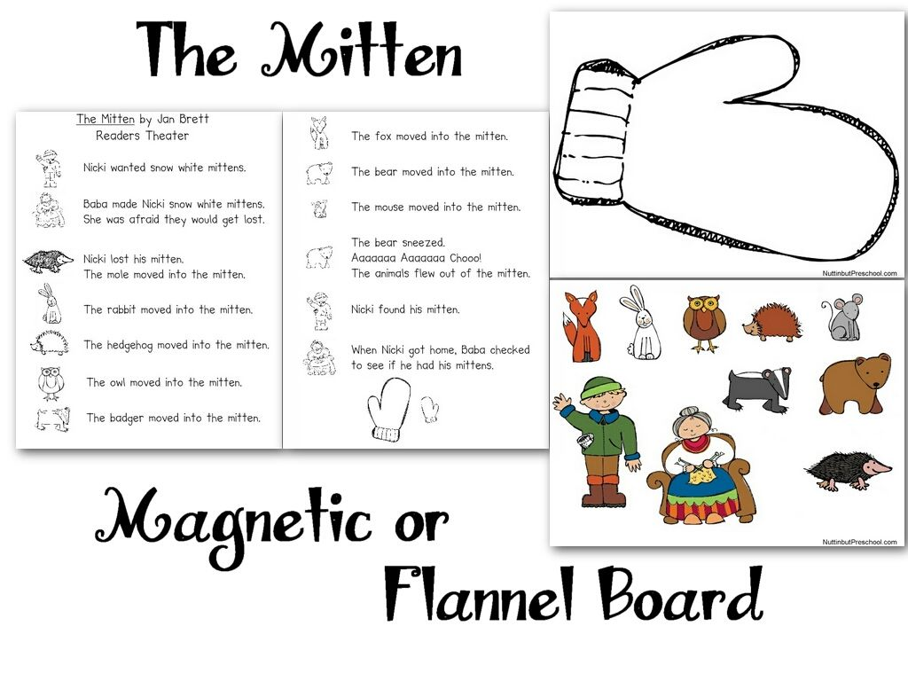 Download And Print The Mitten Flannel Board Patterns Below