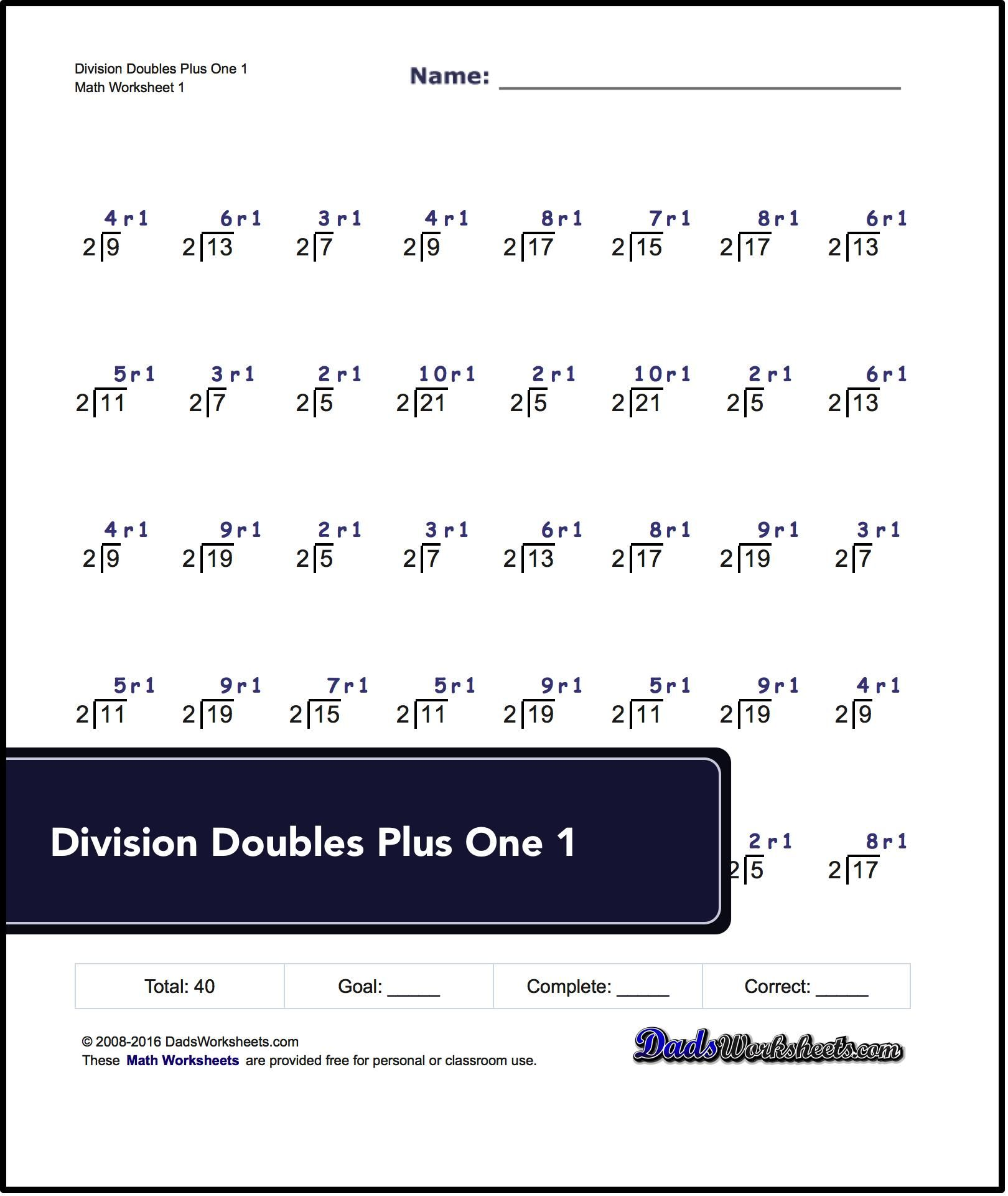 Division Worksheets For Doubles Plus One For All Doubles Less Than 100 Worksheets Are