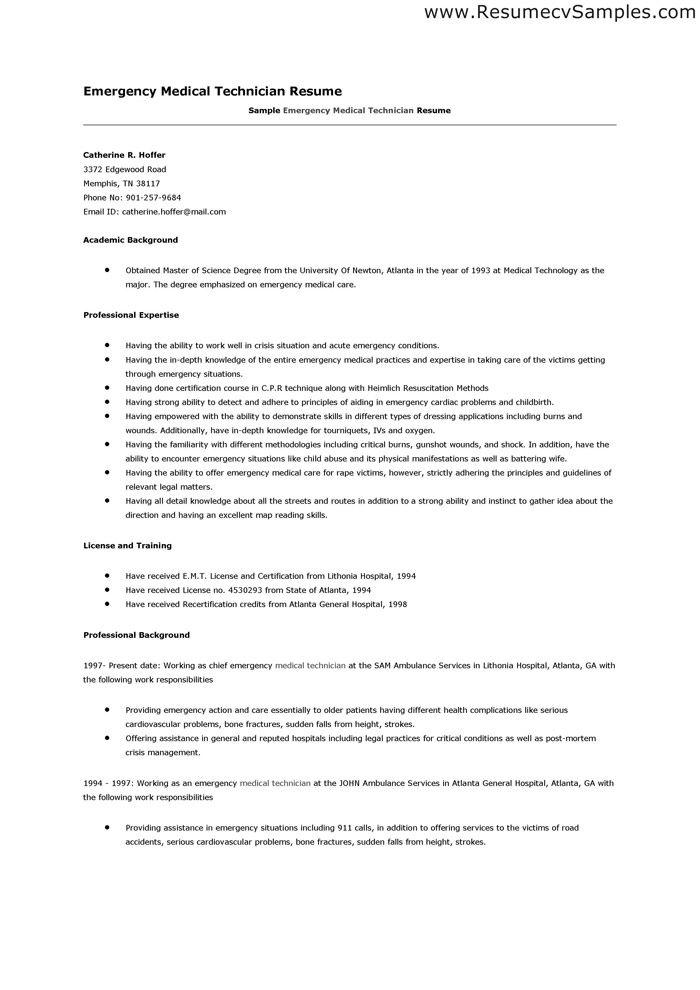 emt resume template gopitch co