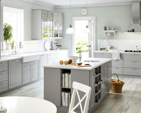White appliances, white counters, light grey http