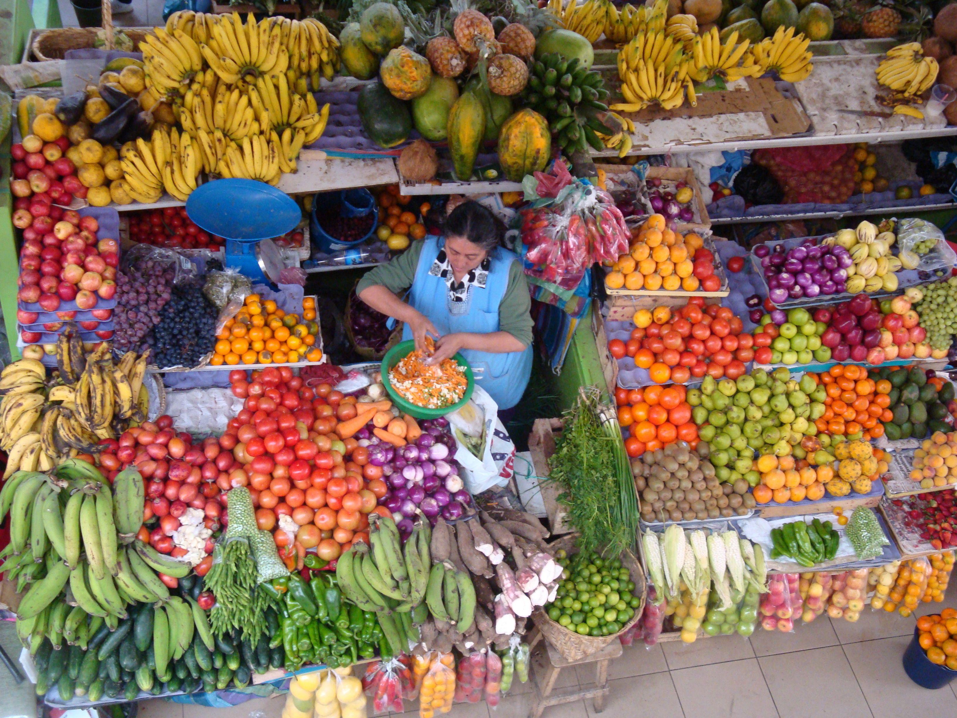 ECUADOR Fruit & vegetable market, Cuenca, Ecuador FARMER