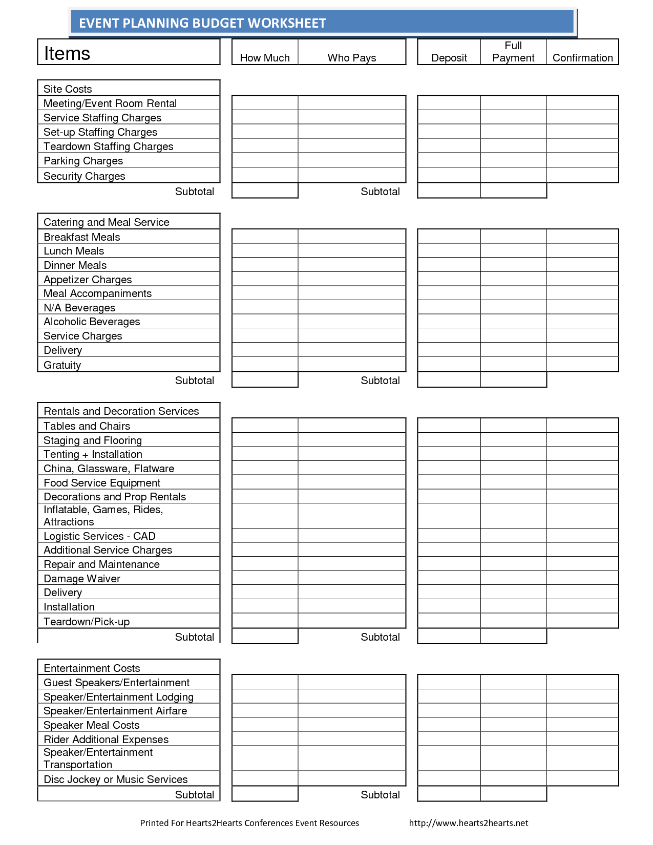 Budget Worksheet Template For Events