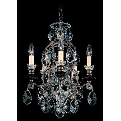 Schonbek Renaissance 5 Light Crystal Chandelier Finish Color Black Handcut Clear
