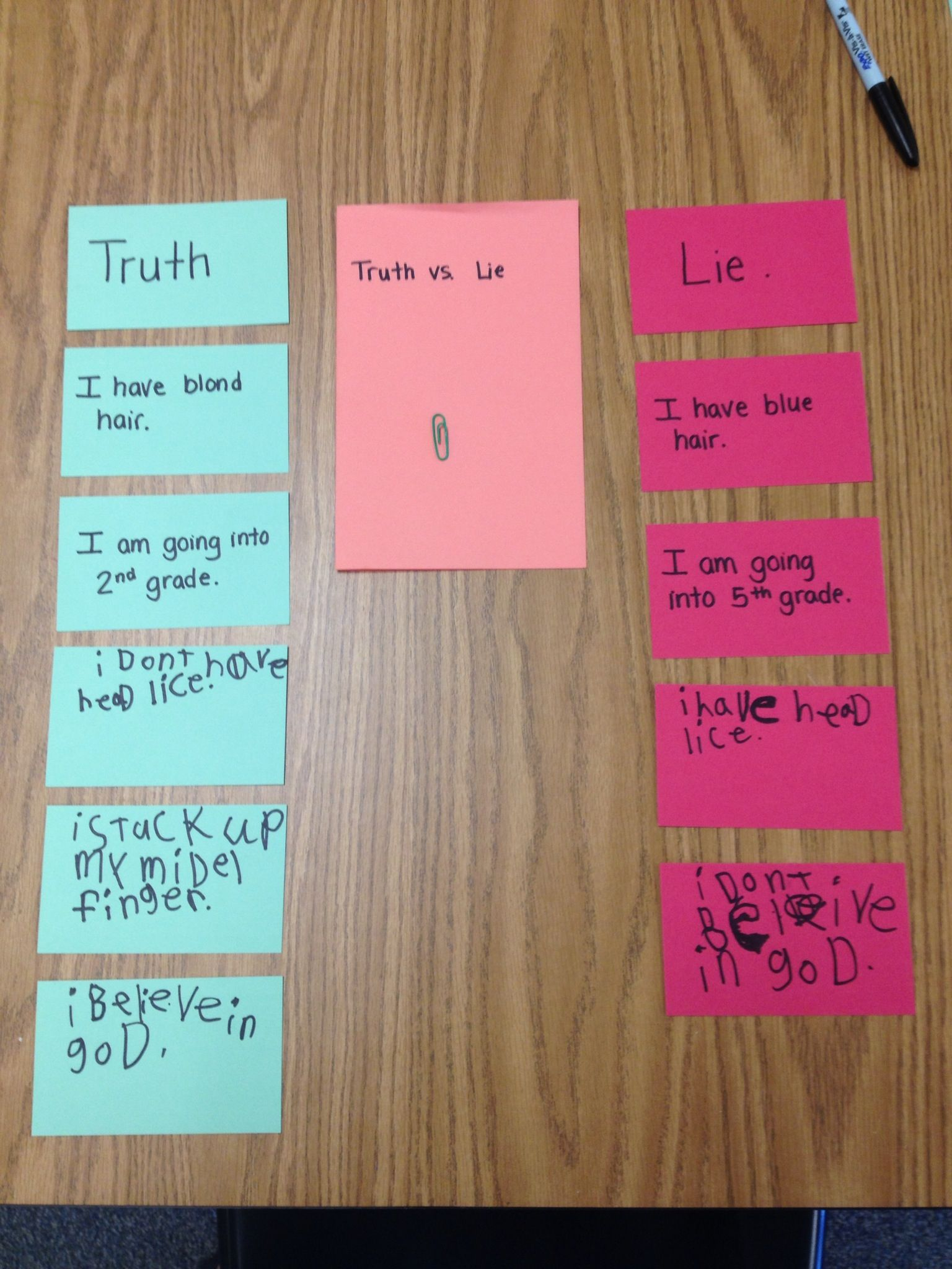 Elementary School Counseling Knowing The Difference Between A Truth And A Lie Sorting Activity