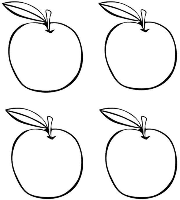 four apples coloring page kids coloring pages pinterest