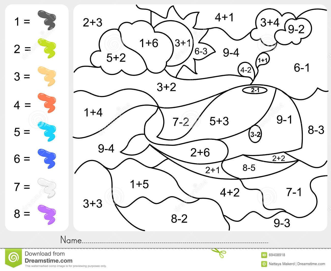 Addition Color By Number Worksheets For Kindergarten