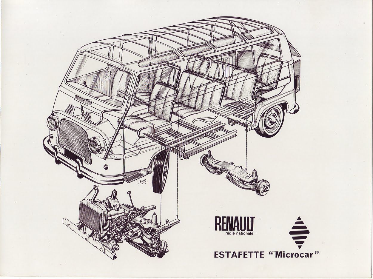 Renault Estafette Axonometrie Eclatee