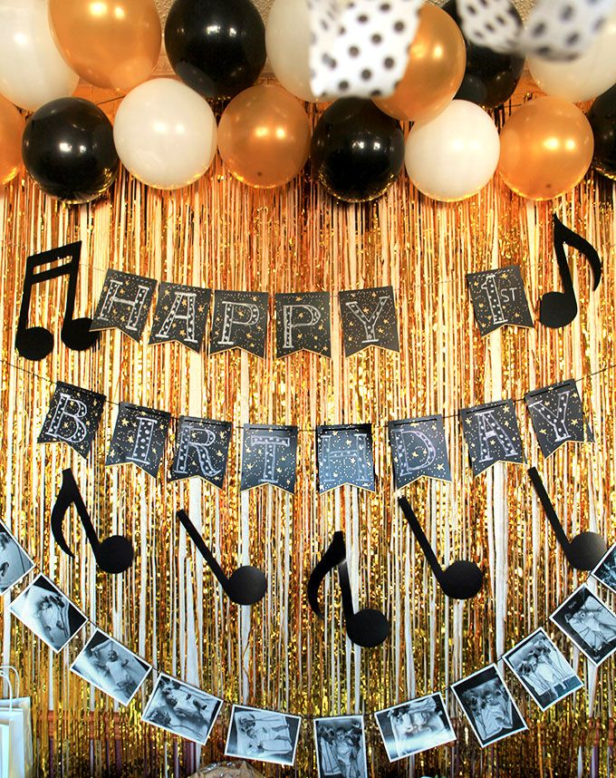 A MusicThemed First Birthday Party Black gold